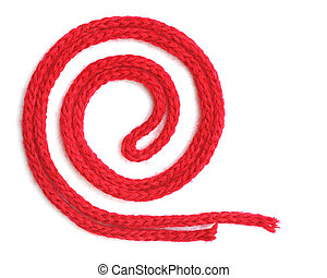 red synthetic ropes isolated on white background