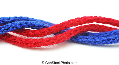 red and blue synthetic ropes isolated on white background