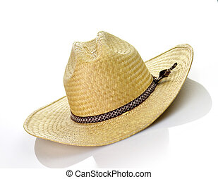 straw hat - a vintage straw hat on white background