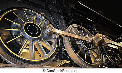 Steam Engine Wheels and Pistons - A worm's eye view of a...