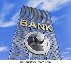 bank head quarter - one 3d render of a bank headquarter with...