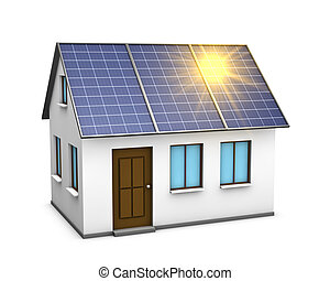 solar energy - One 3d render of a house with solar panels on...