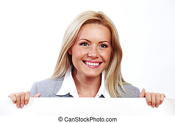 woman hidden behind paper - business woman hidden behind a...