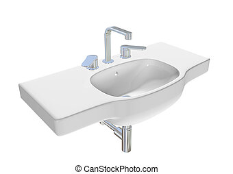 Modern washbasin or sink with chrome faucet and plumbing...