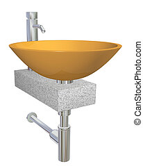 Orange bowl glass or ceramic sink with chrome faucet and plumbing fixtures, sitting on a granite table or slab, isolated against a white background