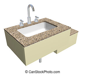 White built-in square bathroom sink with chrome faucet and...
