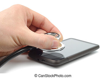 Diagnose Smartphone - Male hand with stethoscope perform the...