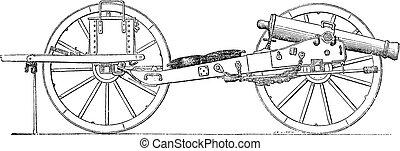 Field gun vintage engraving. Old engraved illustration of a...