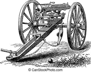 Galting gun vintage engraving. Old engraved illustration of...
