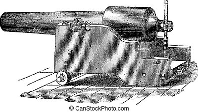 Parrott rifle or Parrott cannon vintage engraving. - Parrott...