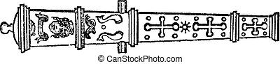Culverin or medieval cannon vintage engraving. - Culverin or...
