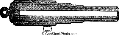 Whithworth gun section or Whirtworth rifle section old engraving.