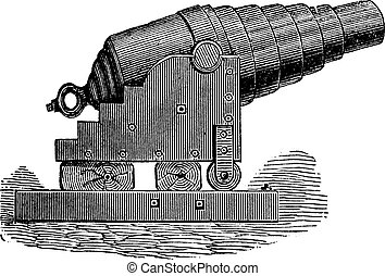Armstrong cannon old engraving. - Armstrong cannon or...