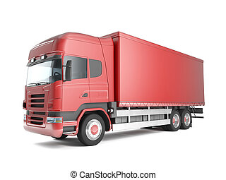 red european truck - Red european truck isolated on white...