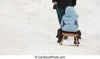 Sledding - Mother and Child - Sledding
