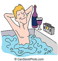 Relaxing in a Spa - An image of a man drinking wine and...