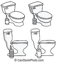 Toilet Commode Set - An image of a set of bathroom toilet...
