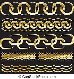 gold chains - vector gold chains on a black background