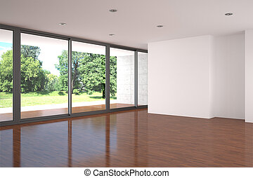 empty living room with parquet floor - Empty modern living...