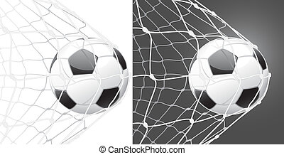 Score a goal, soccer ball and stretched net