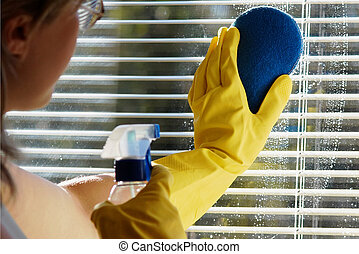 Woman cleaning - A woman cleaning a window