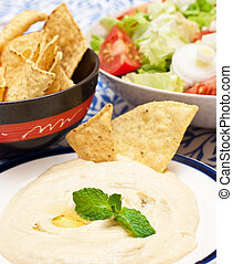 hummus - a plate with fresh hummus libanese food