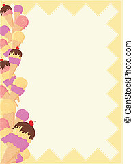 ice cream border page - background with ice cream border in...