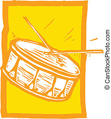 Snare Drum - Woodcut image of a snare drum on an orange...