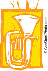 Tuba - Woodcut image of a tuba on an orange background.