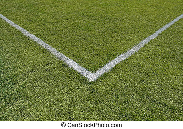 Painted lines in the corner of a playing field