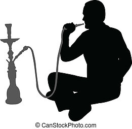 smoking nargile - man smoking nargile - vector