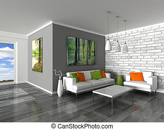 interior of the modern room - 3d rendering interior of the...