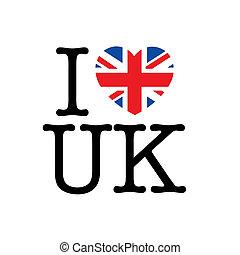 I love UK, heart with union jack