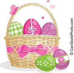 Easter basket illustration - Easter basket full of colored...