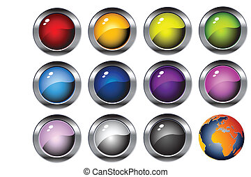 glossy web buttons, icons