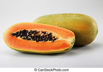 papaya - close up of the papaya on the plain background
