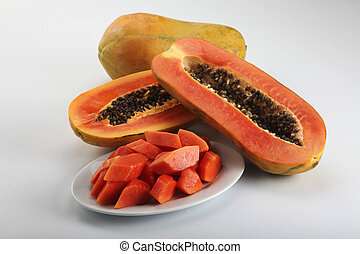 fruit-papaya - cutted papaya on the plain background