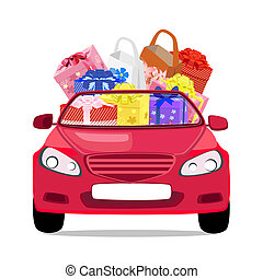 holiday car with gifts
