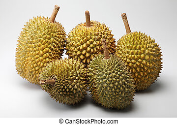 durian - group of durian on the plain background