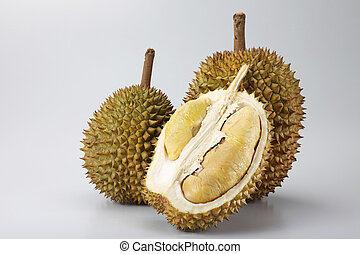 durian - two durian and a half on the plain background