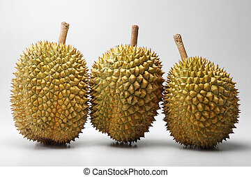 durian - three durian on the plain background