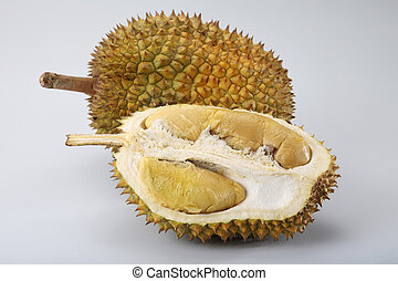 durian and a half on the plain background