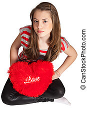 Girl Sitting With Heart Shaped Pillow - Beautiful Girl...