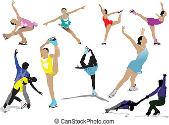 Figure skating colored silhouettes Vector illustration