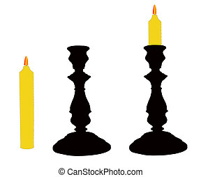 The Candlesticks with candle. - On white background two...