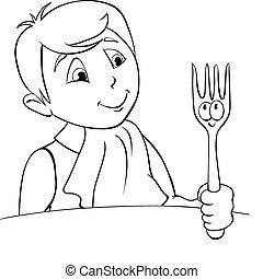 Diner Boy. B&W outline illustration
