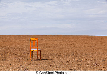 The restless chair on the spring field
