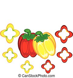 Red and yellow peppers Illustration on white background for...