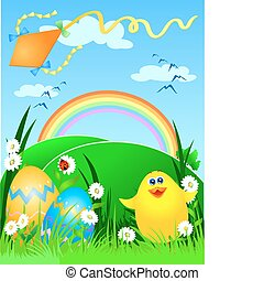 Easter card with kite flying and chick, vector