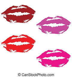 lip prints in red and pink - lipstick prints in red and pink...